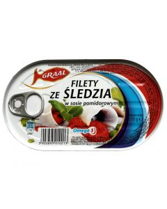 GRAAL Herring Fillets in Tomato Sauce omega 3 170g